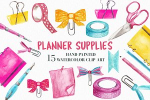 Watercolor Planner Supplies Clipart