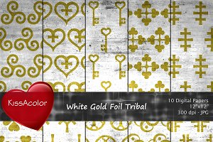 White Gold Foil Tribal Patterns