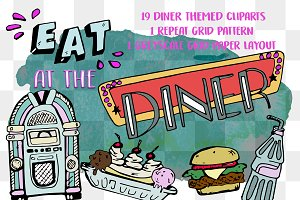 AT THE DINER - CLIPART STICKER PACK
