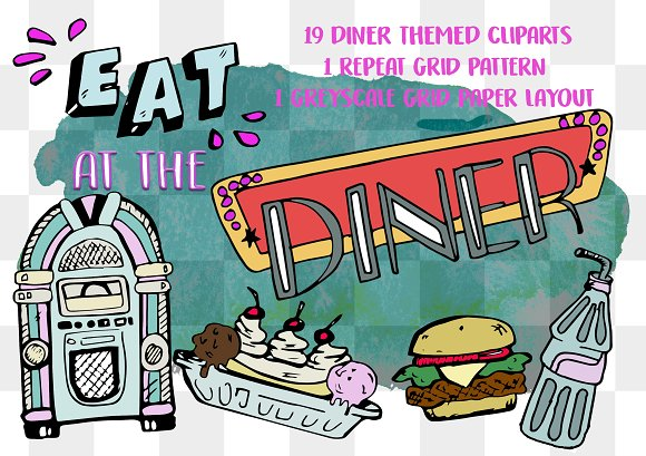 AT THE DINER CLIPART STICKER PACK