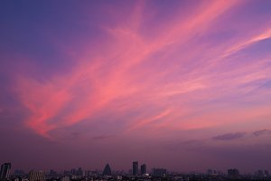 twilight sky after sunset over city