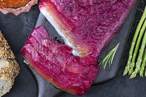 beetroot Gravlax of trout or salmon