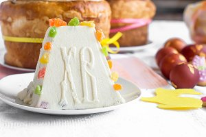 Traditional curd Easter cake with ca