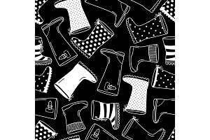 Cute seamless pattern with monochrome hand drawn rubber boots