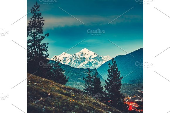 View from the valley to the Caucasus Mountains.