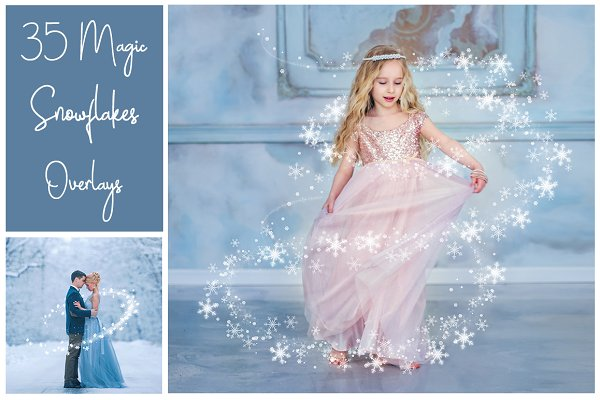 35 Magic Snowflakes PNG Overlays