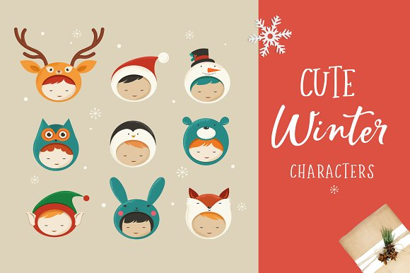 Cute Christmas Characters icons ~ Illustrations ~ Creative Market