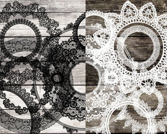 24 White & black lace clip art