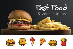 FAST FOOD - vector icons
