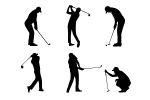 vector of silhouette golfer