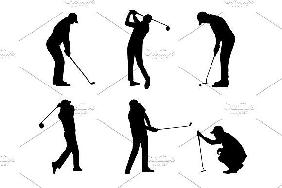 vector of silhouette golfer