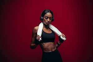 Healthy female athlete relaxing