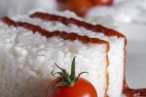 White rice with tomato and ketchup