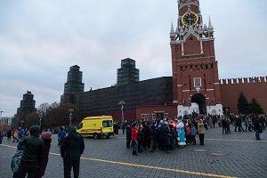 Kremlin towers and ambulance