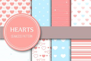 Hearts seamless patterns