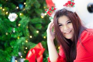 Happy and smile santa woman.