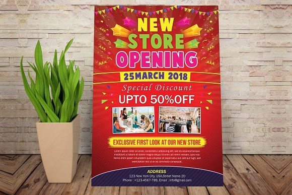 store opening flyer flyer templates creative market