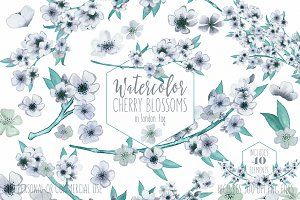 Mint Watercolor Floral Branches