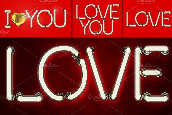 Neon Realistic Word LOVE