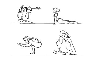 Set Woman doing exercise in yoga pose