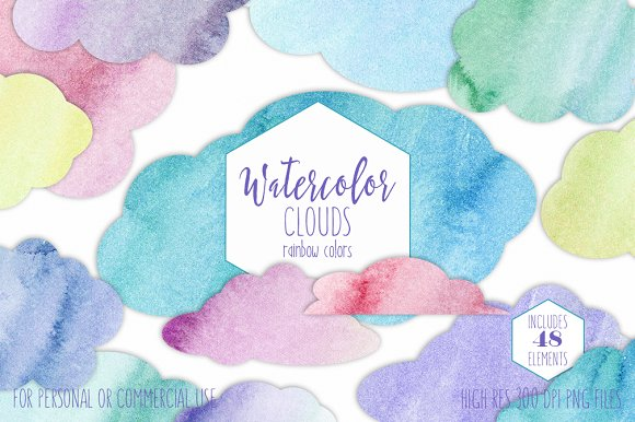 Rainbow Watercolor Cloud Shapes