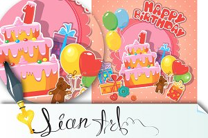 Baby birthday card with teddy bear,