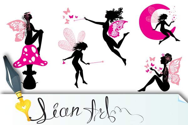 Set of silhouette fairy girls