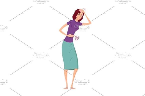 Sick women with pain and diseases vector illustration.