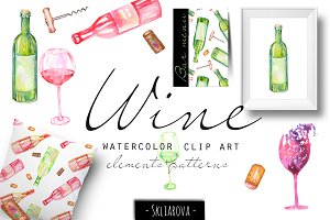 Wine. Watercolor clip art.