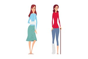Young woman broken hand and leg vector illustration