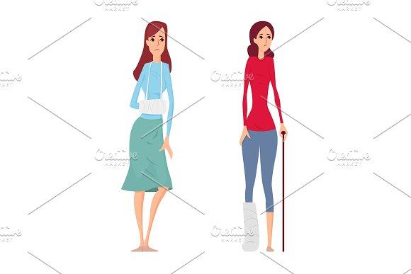 Young woman broken hand and leg vector illustration