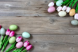Tulips and colorful eggs for Easter