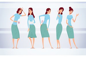 Different kinds of female diseases vector illustration.