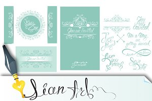 Set of Wedding invitation cards