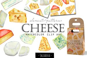 Cheese. Watercolor clip art.