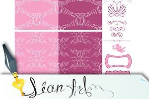 Set of wedding seamless patterns