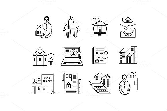 Line icons real estate sale and rent signs