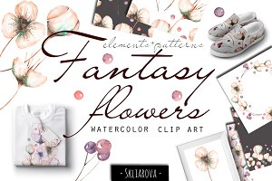 Fantasy flowers. Watercolor clip art