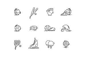 Line icons sport games equipment. Baseball, basketball, football.