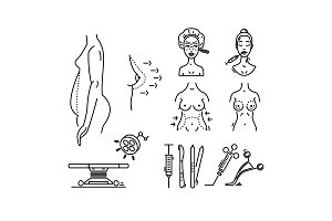Line icons plastic surgery, aesthetic medicine, cosmetic procedure.