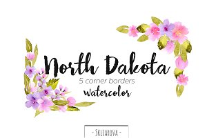 """North Dakota"". Corner borders."
