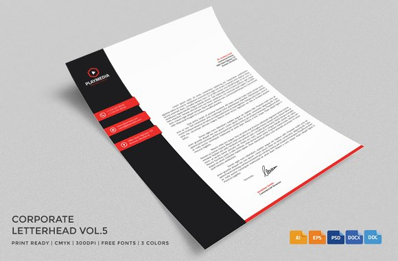 Corporate Letterhead 5 With MS Word Stationery Templates Creative Market