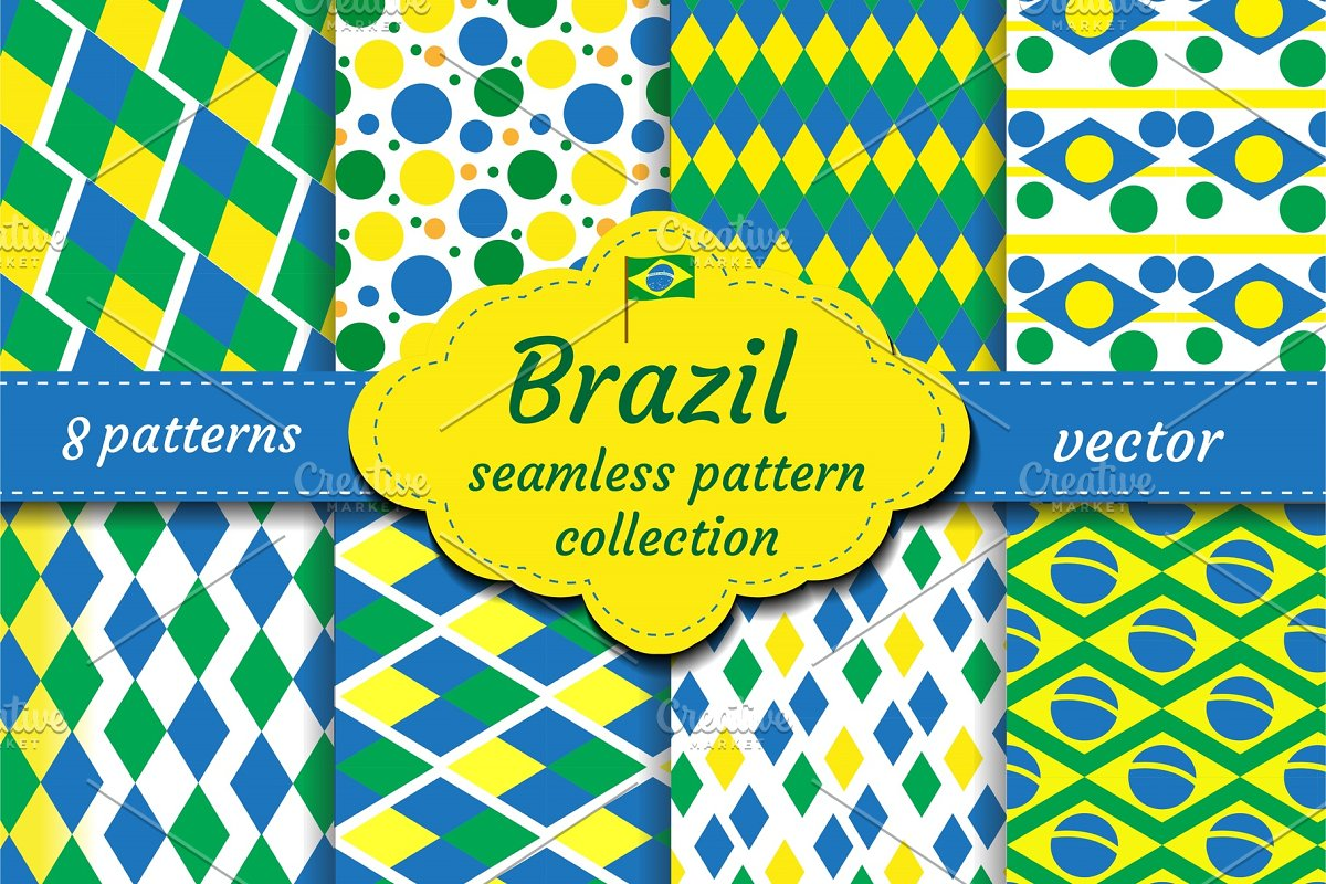 Brazil Set Of Abstract Geometric Pattern Collection Blue Yellow