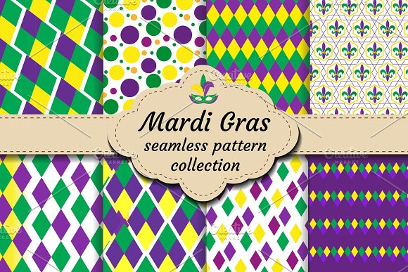 Mardi Gras Set Of Abstract Geometric Pattern Collection Purple Yellow Green Rhombus Repeating Texture Endless Background Wallpaper Backdrop Vector Illustration