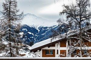 Winter view on the valley in Swiss Alps, Verbier, Switzerland