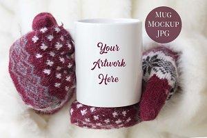 Mug Mockup - Winter Gloves