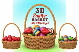 Wicker Basket with Easter Eggs - 3D