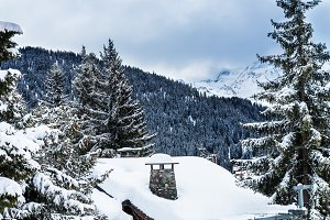 Winter view on the valley in Swiss Alps, Verbier, Switzerland