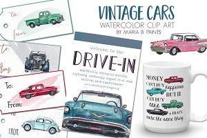Watercolor Clip Art - Cars