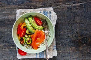 Salmon, rice, vegetables bowl